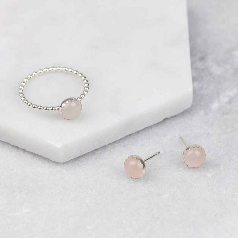 Sterling Silver Rose Quartz Stud Earrings and Stacking Ring