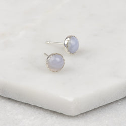 Blue Lace Agate Gemstone Studs