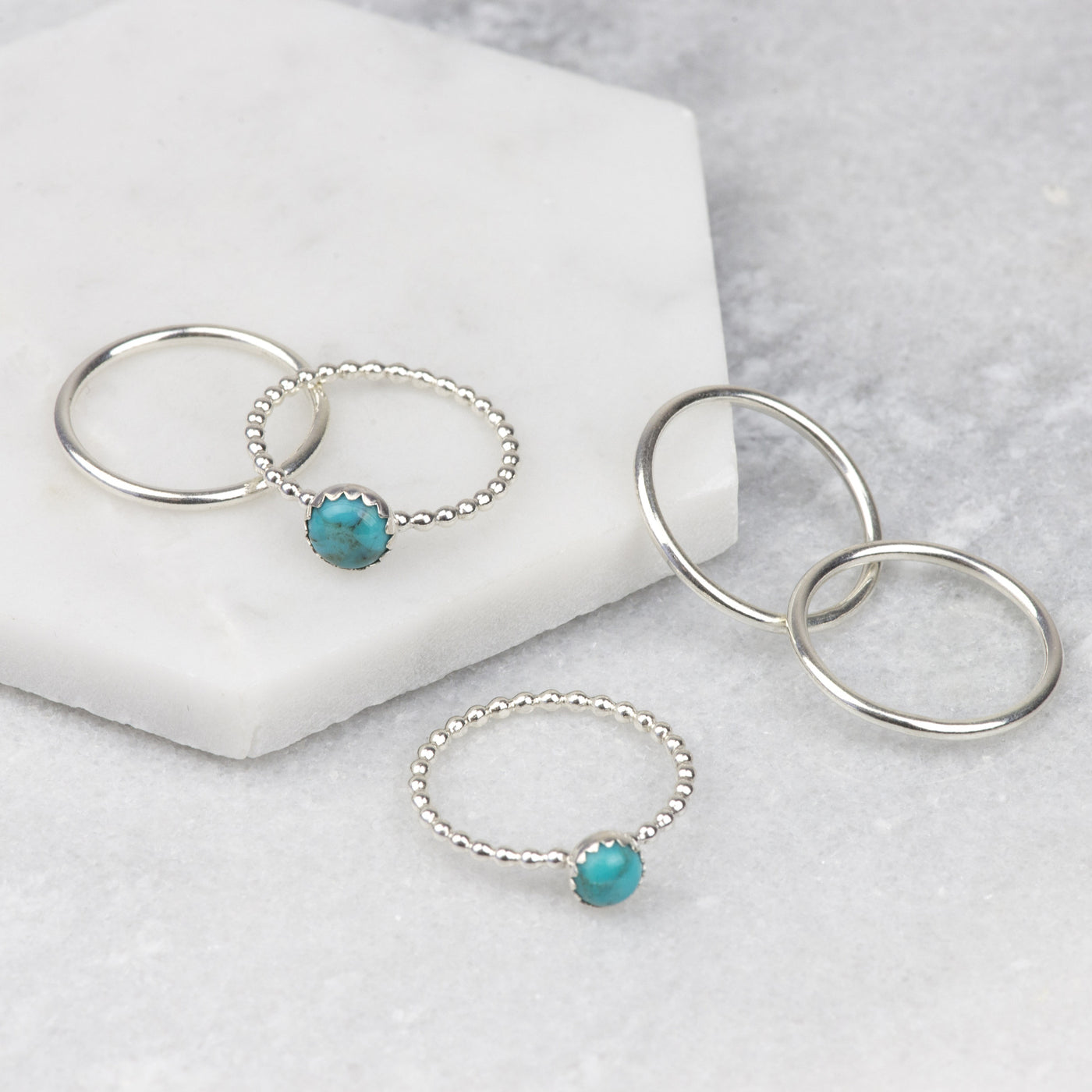 Handmade Sterling Silver Turquoise Stacking Ring Set