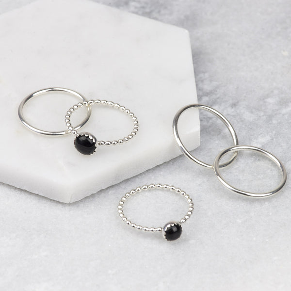 Black Onyx Sterling Silver Stacking Rings