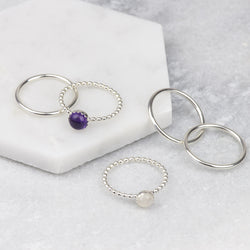Sterling Silver Gemstone Stacking Set