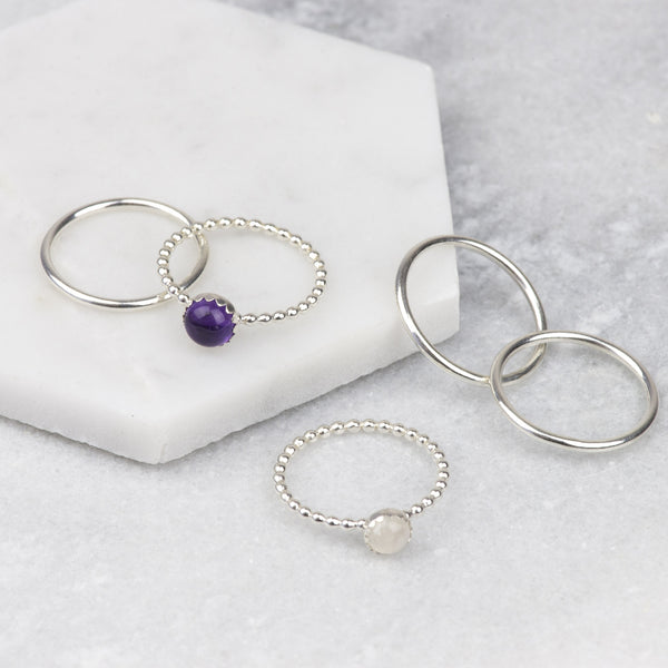 MIDNIGHT - HANDMADE STERLING SILVER AMETHYST AND MOONSTONE STACKING RINGS