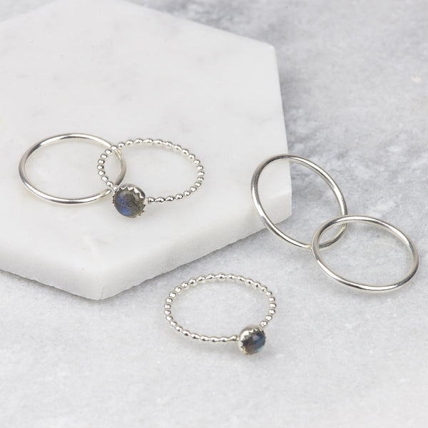 NORTHERN LIGHTS - HANDMADE STERLING SILVER LABRADORITE STACKING RINGS