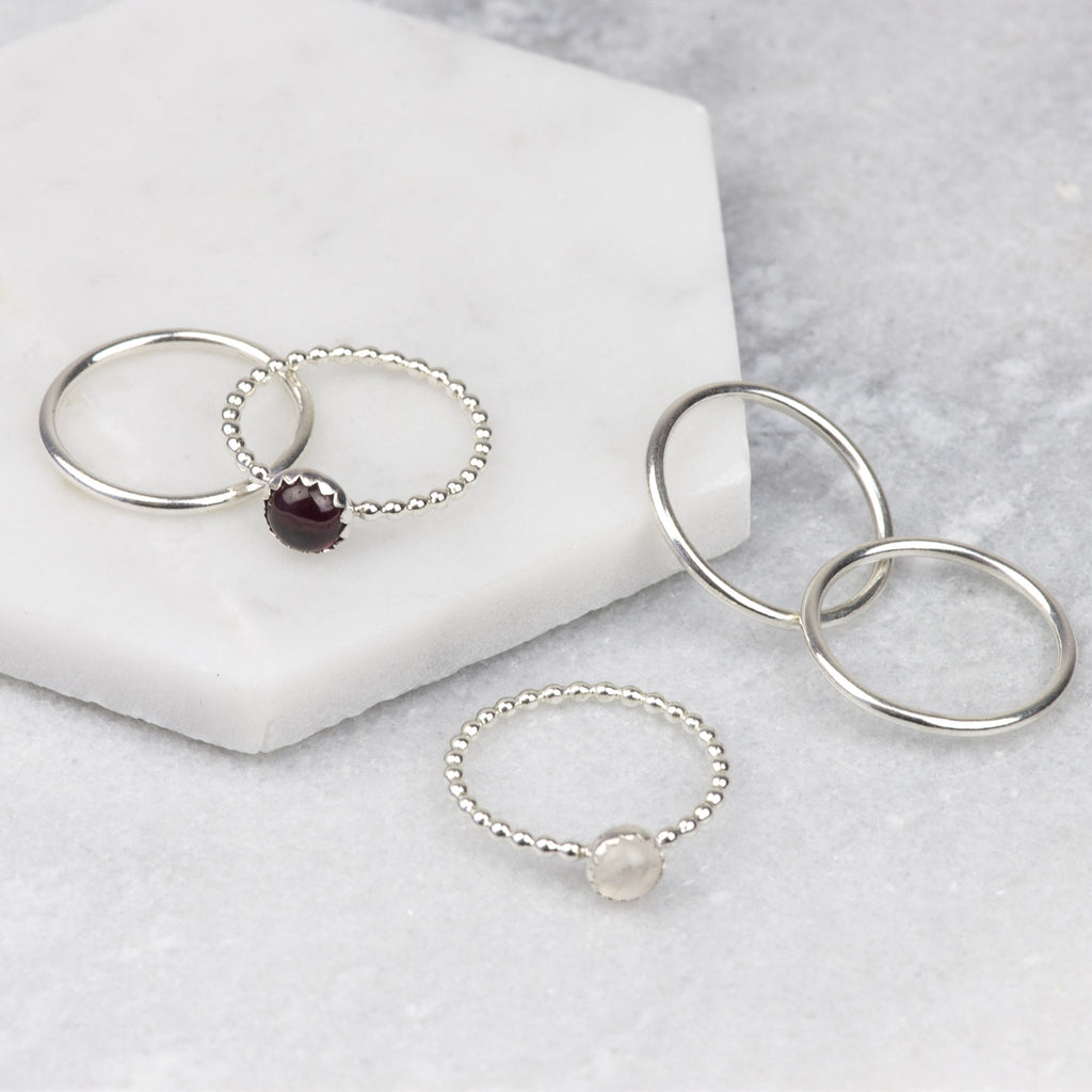 SATIN - HANDMADE STERLING SILVER GARNET AND MOONSTONE STACKING RINGS