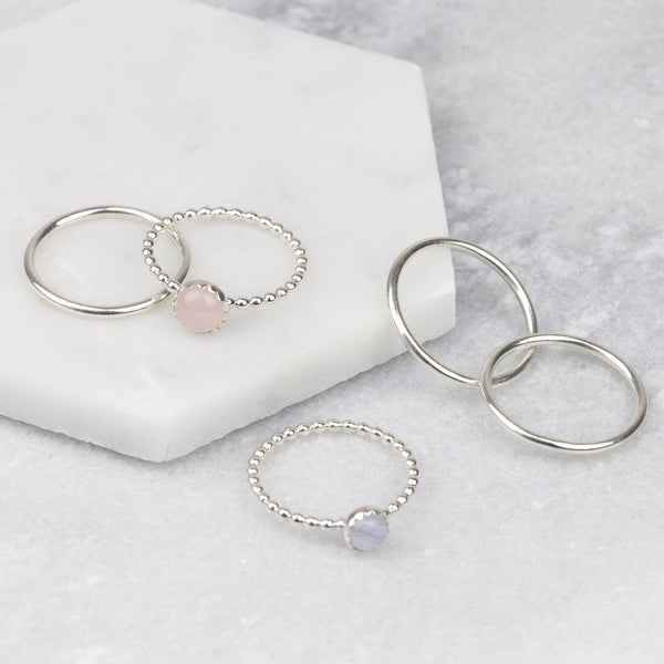 Handmade Sterling Silver Rose Quartz and Blue Lace Agate Stacking Ring Set