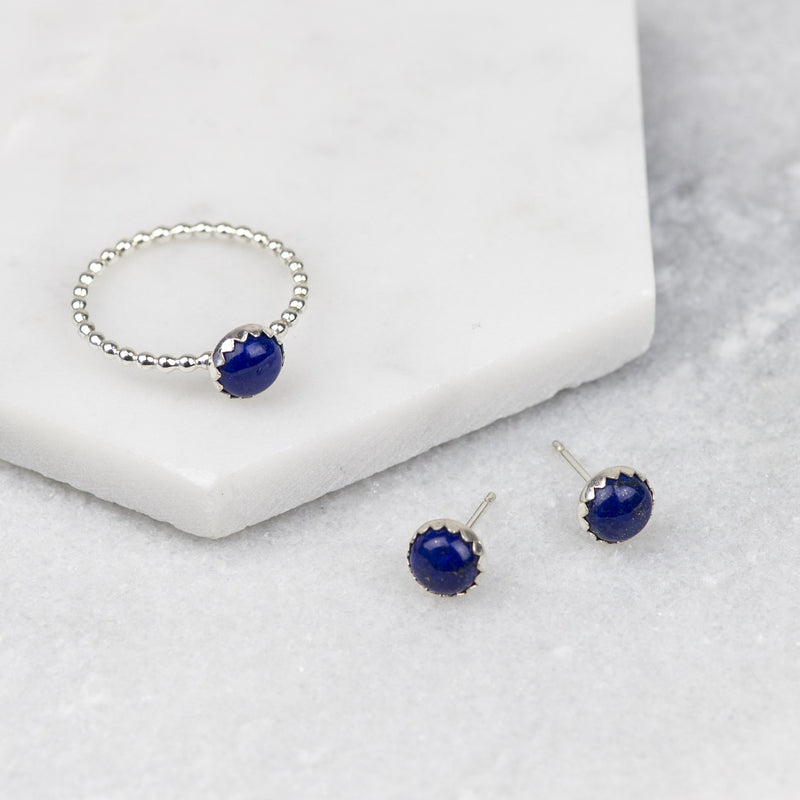Sterling silver lapis lazuli gemstone stud earrings and ring