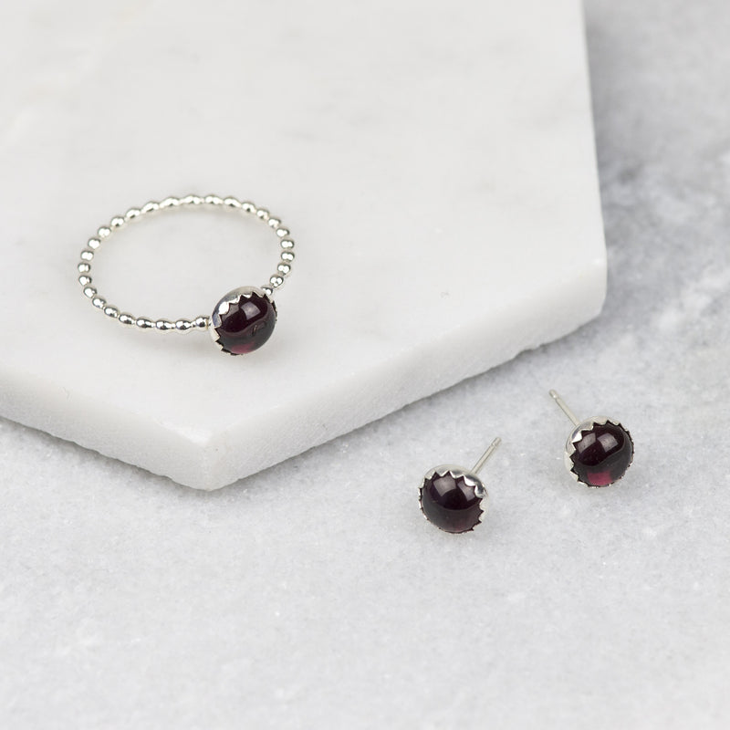 Red Gemstone Ring and Earrings