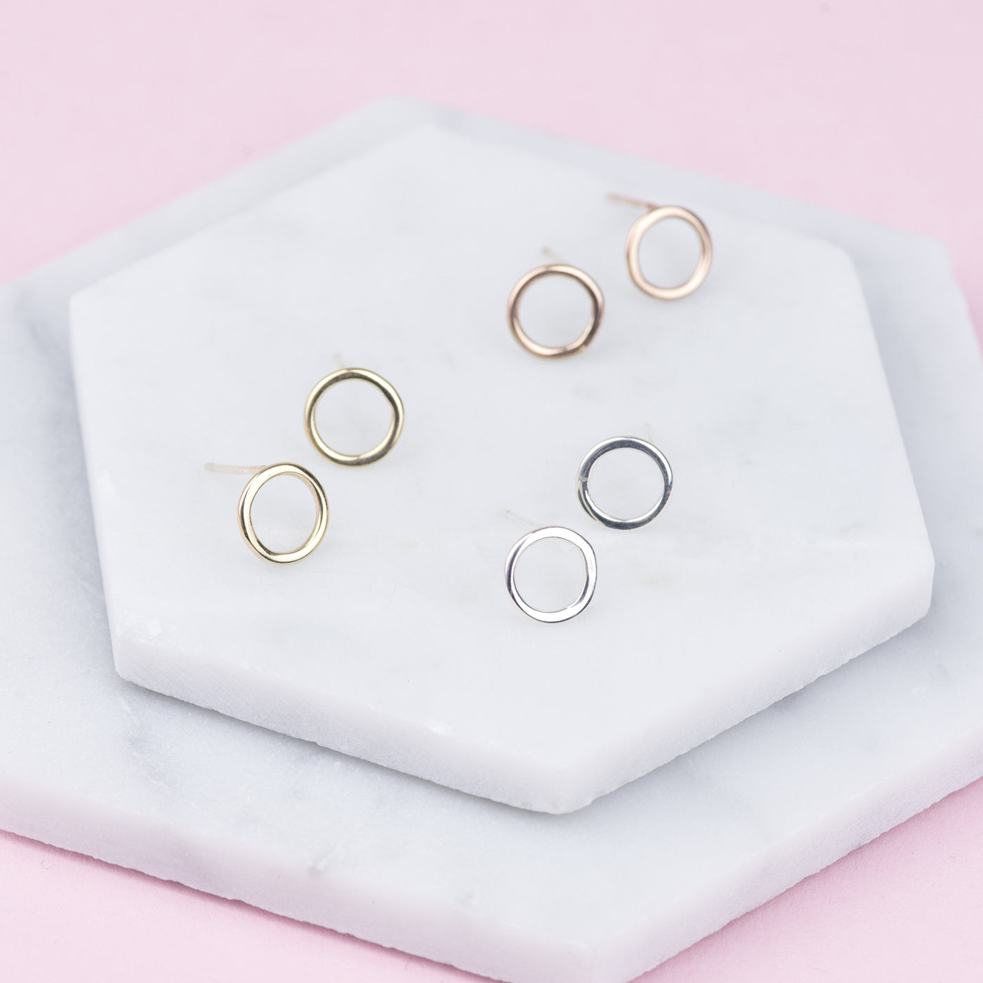LUCIA - HANDMADE 9 CARAT GOLD HOOP STUD EARRINGS