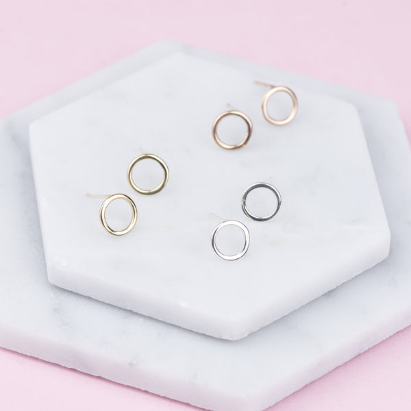 Handmade Solid 9ct Gold Circle Stud Earrings