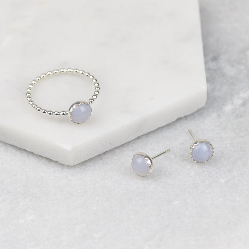Pastel Blue Gemstone Earrings and Ring