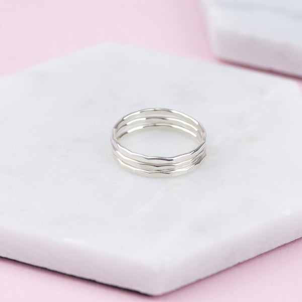 FAITH - HANDMADE STERLING SILVER STACKING RINGS