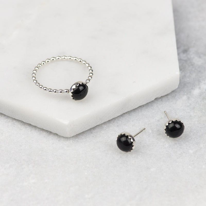 Black Onyx Gemstone Ring and Earrings