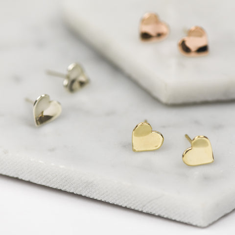 AMORA - HANDMADE SOLID GOLD CONCAVE HEART STUD EARRINGS