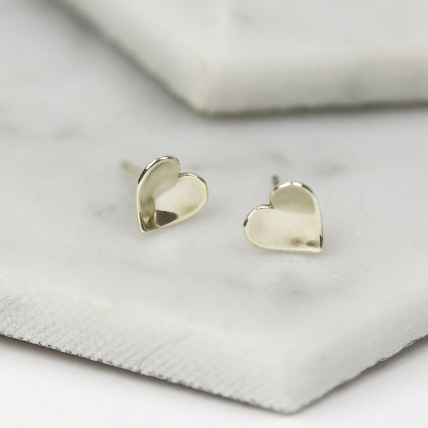 AMORA - HANDMADE STERLING SILVER CONCAVE HEART STUDS