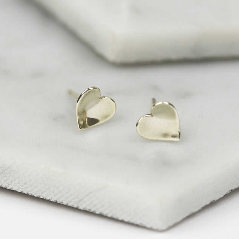 White Gold Heart Stud Earrings