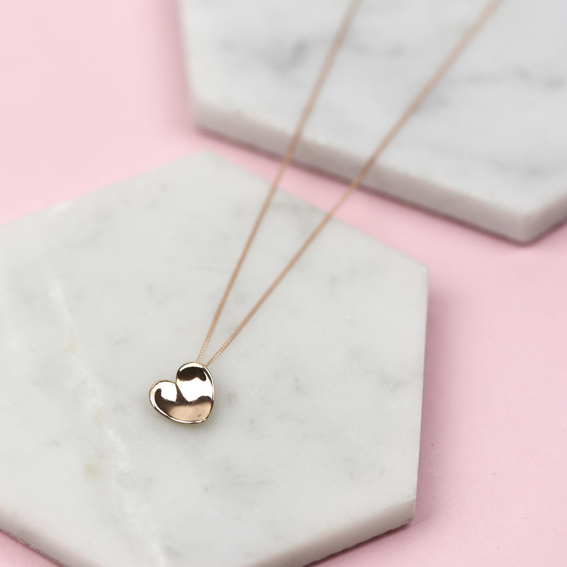 Solid 9 carat rose gold heart necklace