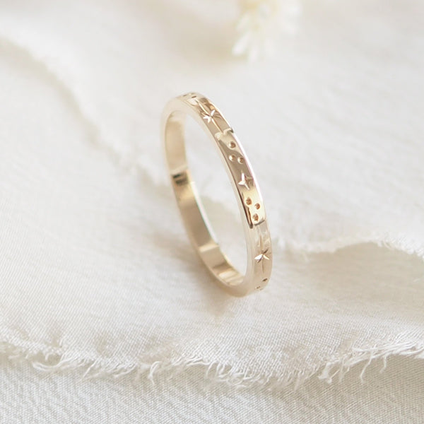 Star Engraved Flat Profile Ring Band in Solid 9ct Yellow Gold