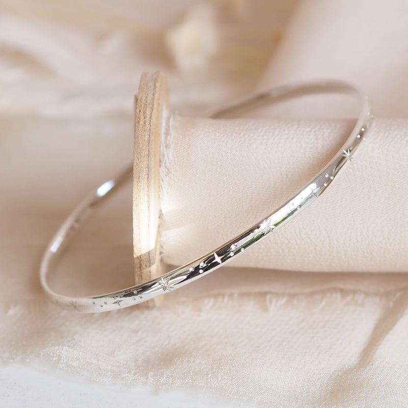 Hand Engraved Sterling Silver Star Bangle