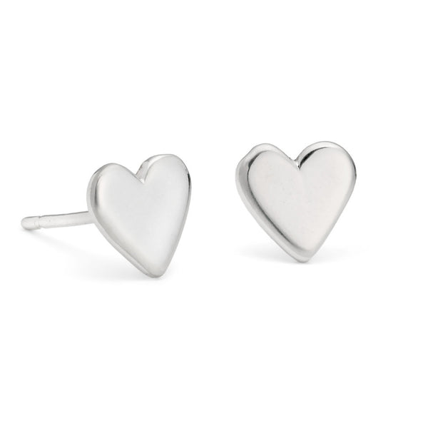 Handmade Sterling Silver Heart Stud Earrings