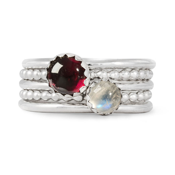 Sterling Silver Gemstone Stacking Ring Set