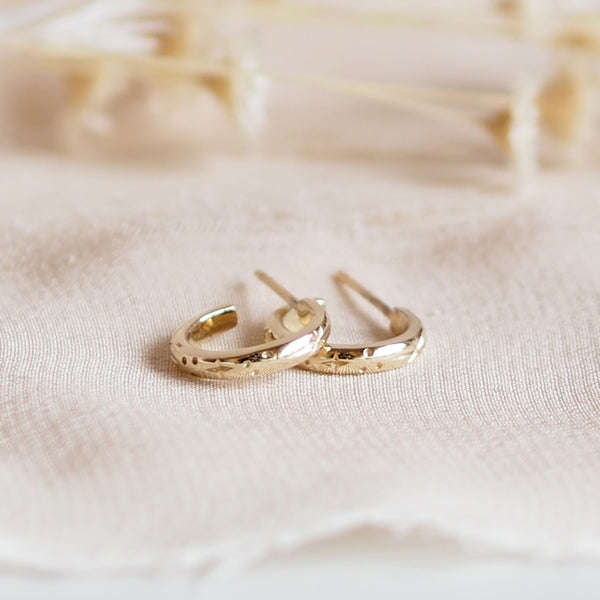 Handmade Solid 9 Carat Gold Huggie Hoop Earrings
