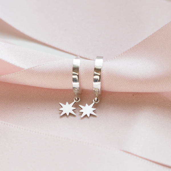 Handmade Sterling Silver Star Huggie Earrings