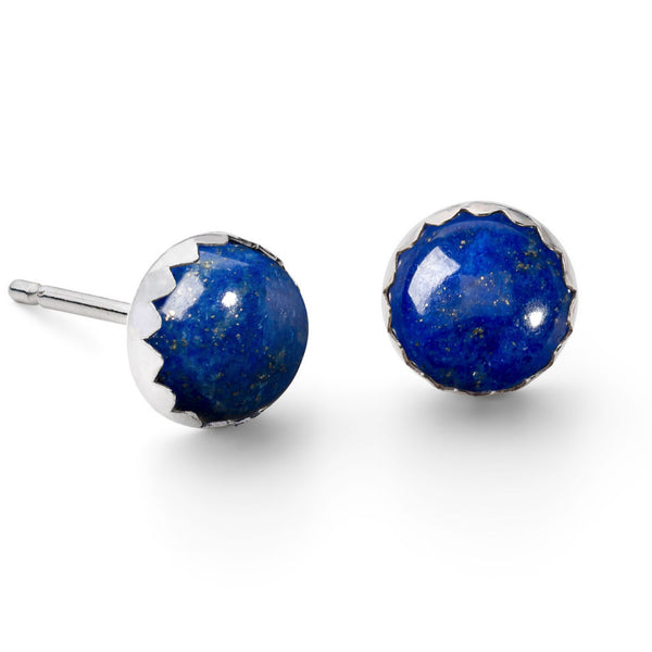 Sterling silver lapis lazuli gemstone stud earrings