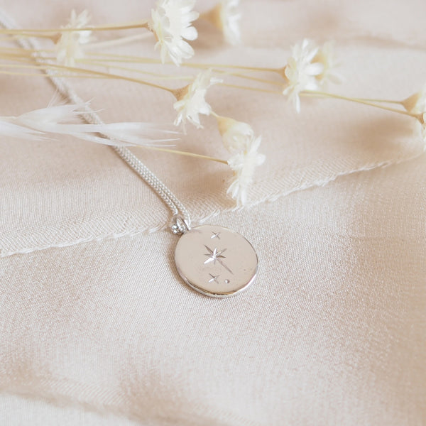 Handmade Sterling Silver Large Oval Star Necklace