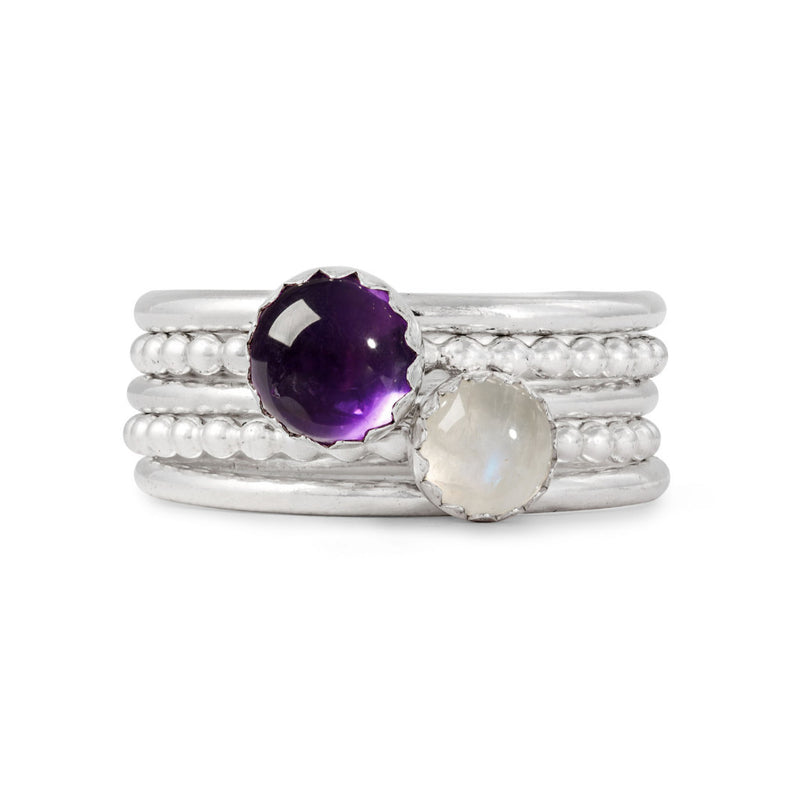 Sterling Silver Gemstone Stacking Rings