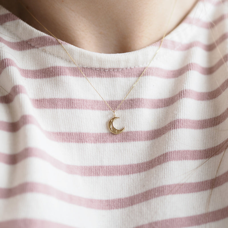 Handmade Solid 9 Carat Gold Crescent Moon Necklace