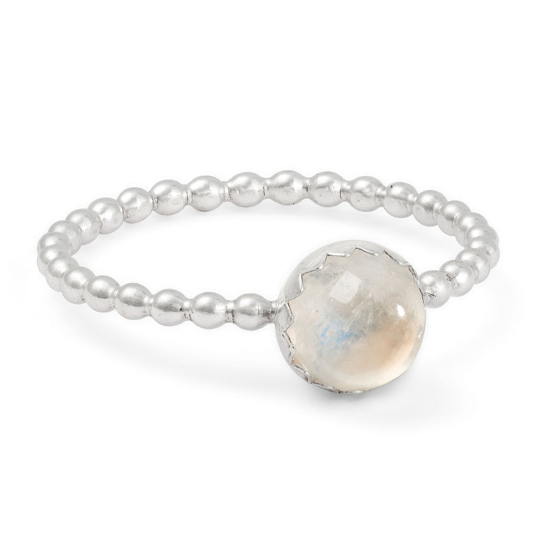 Sterling silver rainbow moonstone stacking ring