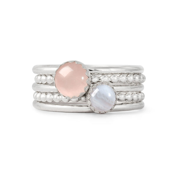 Blue lace agate and rose quarts stacking ring set