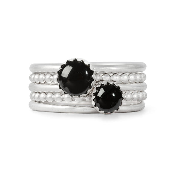 Black Gemstone Stacking Rings