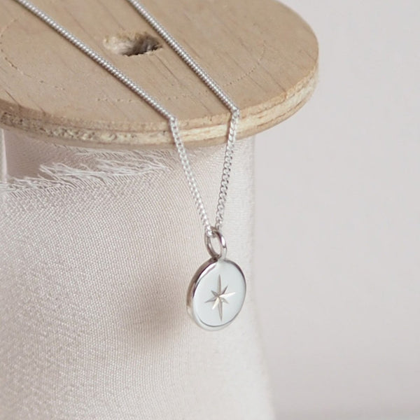 Handmade Sterling Silver Small Oval Star Necklace