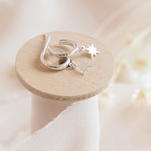 HAND ENGRAVED STERLING SILVER STAR HUGGIE DROP EARRINGS