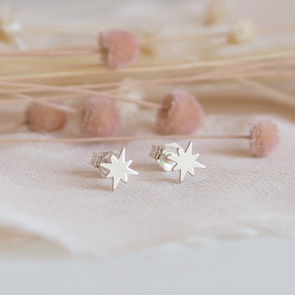 Dainty Sterling Silver North Star Stud Earrings