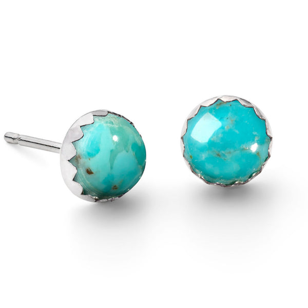 Sterling Silver Turquoise Gemstone Stud Earrings