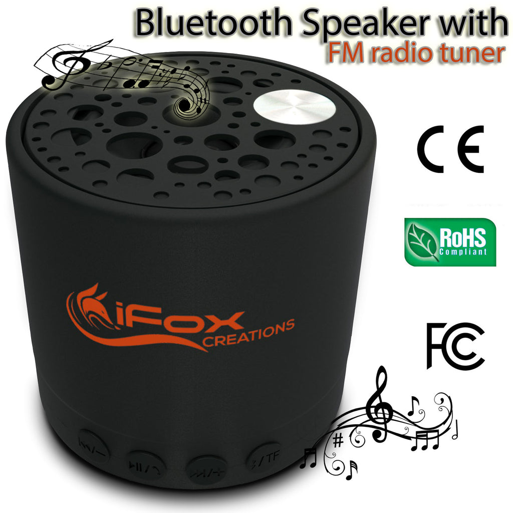 iFox Creations iF010 Bluetooth Speaker – Portable Bluetooth Speaker with FM Radio Tuner, SD Card, AUX-in, and USB Charger – Wireless Speaker for iPhone, iPad, Smartphone