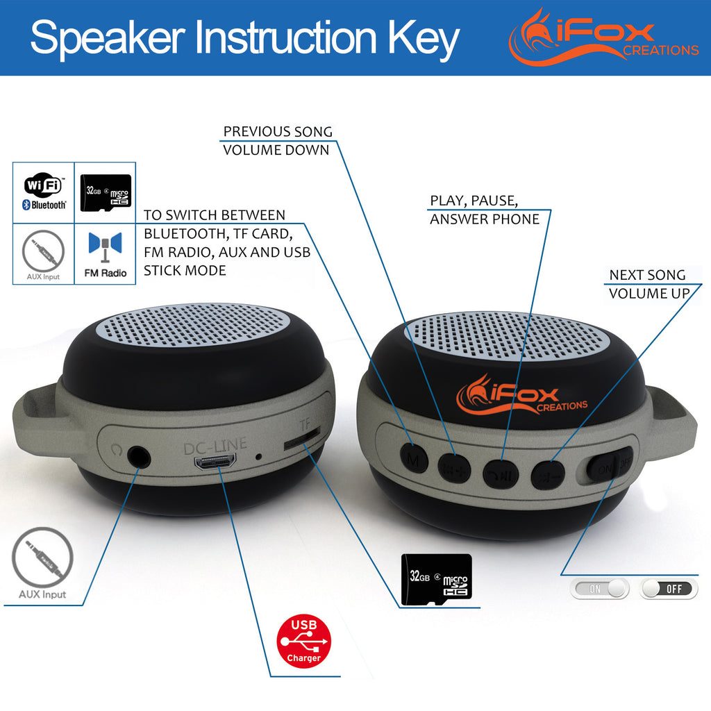 iFS303 Ultra Portable Bluetooth Speaker - Indoor & Outdoor - Black