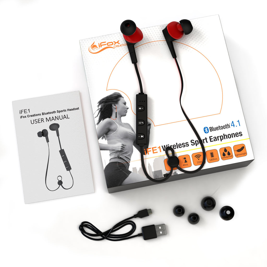 iFE1 Bluetooth Sports Earphones with Mic – Sweatproof Wireless Comfort Fit with Volume Control