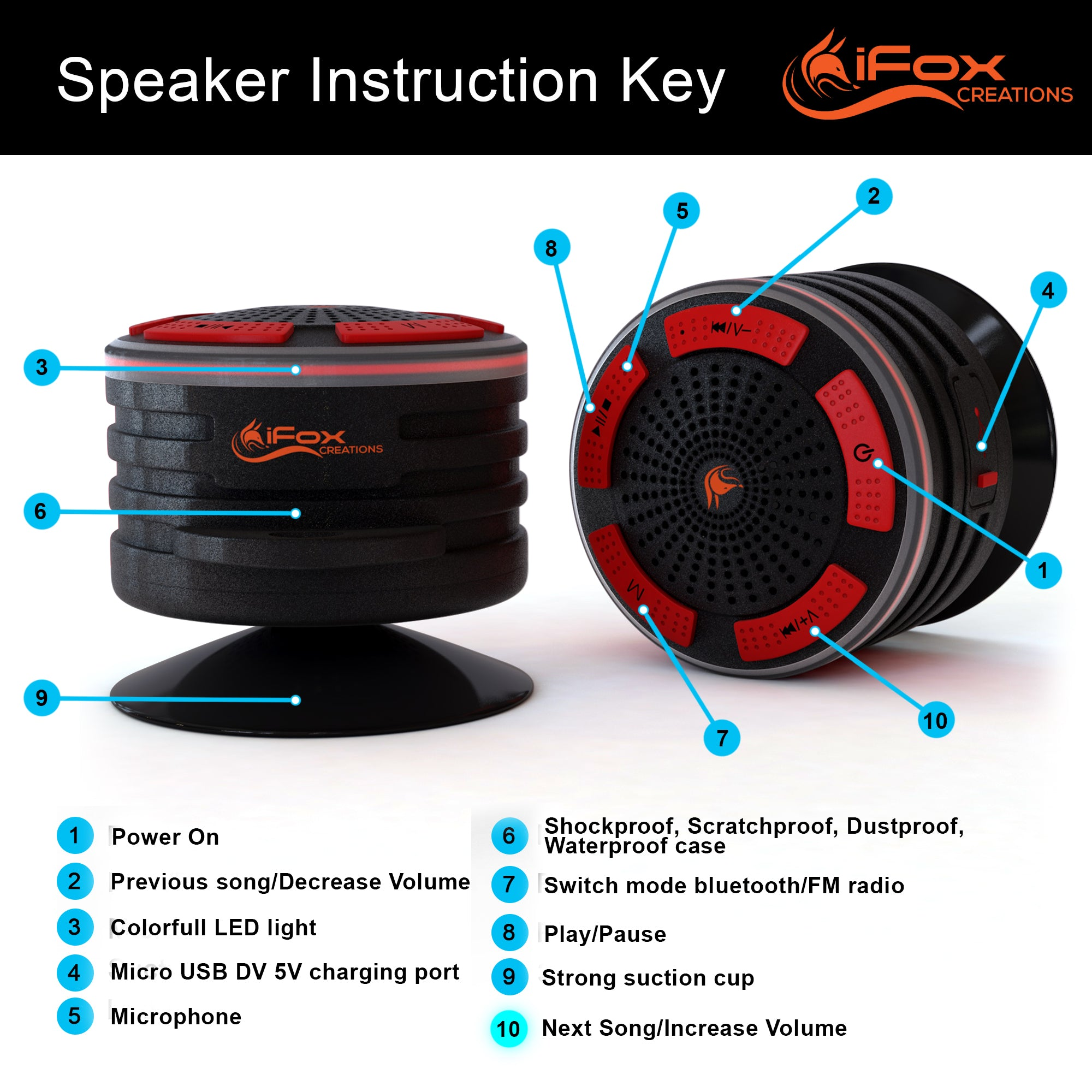 iF014 Waterproof Bluetooth Speaker & Shower Radio - Black | iFox