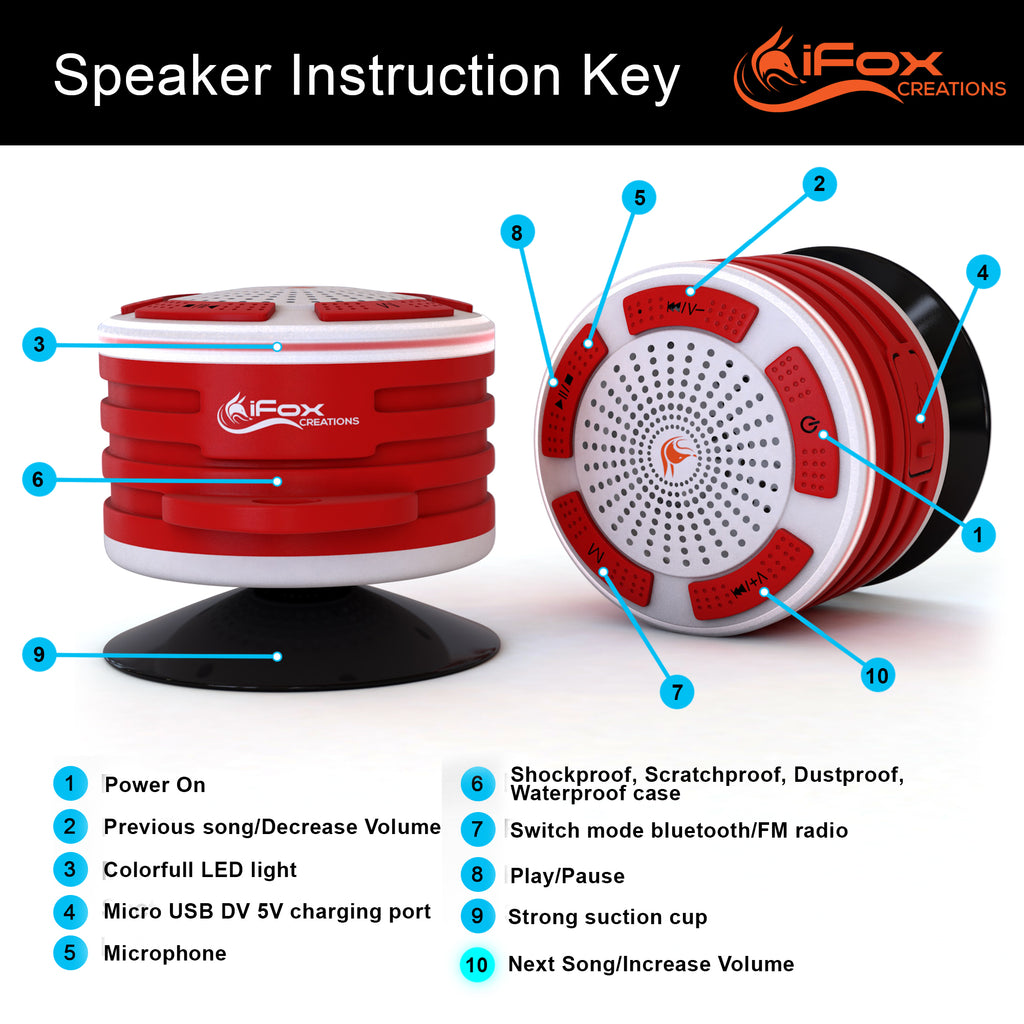 iF014 Waterproof Bluetooth Speaker & Shower Radio - Red & White