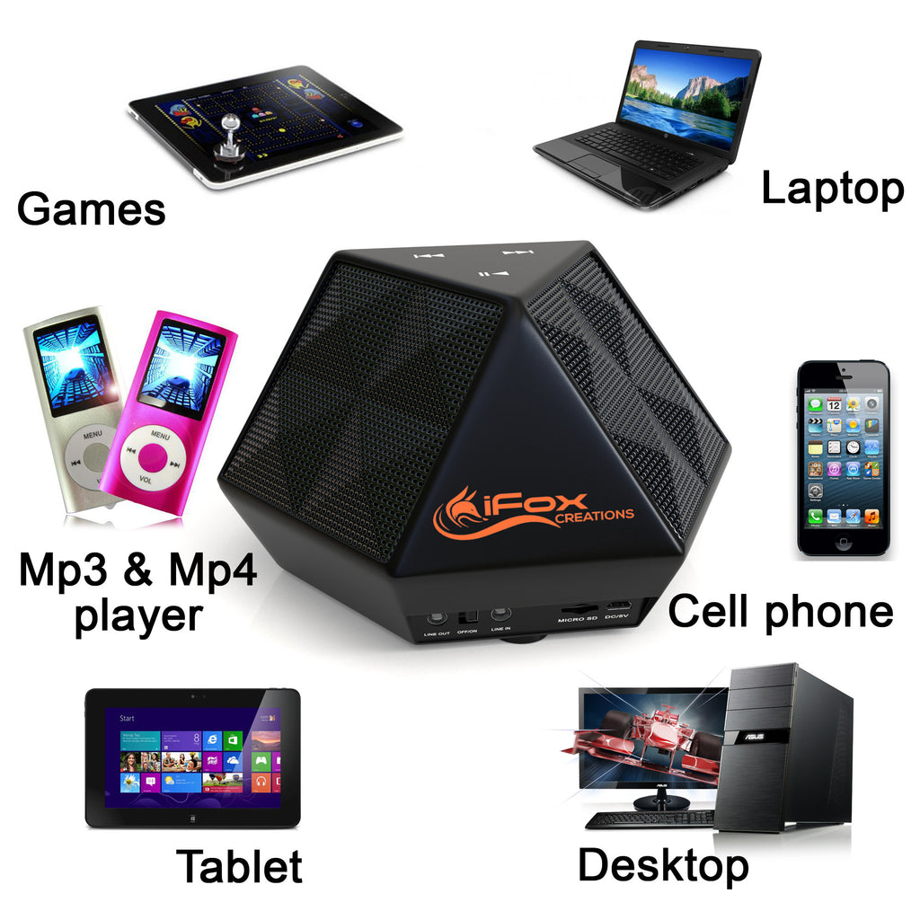 iFD8 Bluetooth Portable Wireless Speaker pairs with all Bluetooth devices - iPhone, iPad, iPod & PC