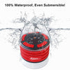 iF013 Bluetooth Shower Speaker - Certified Waterproof. Wireless Speakerphone Pairs To All Bluetooth Devices - iPhone, iPad, iPod, PC. FM Radio - RED & BLACK