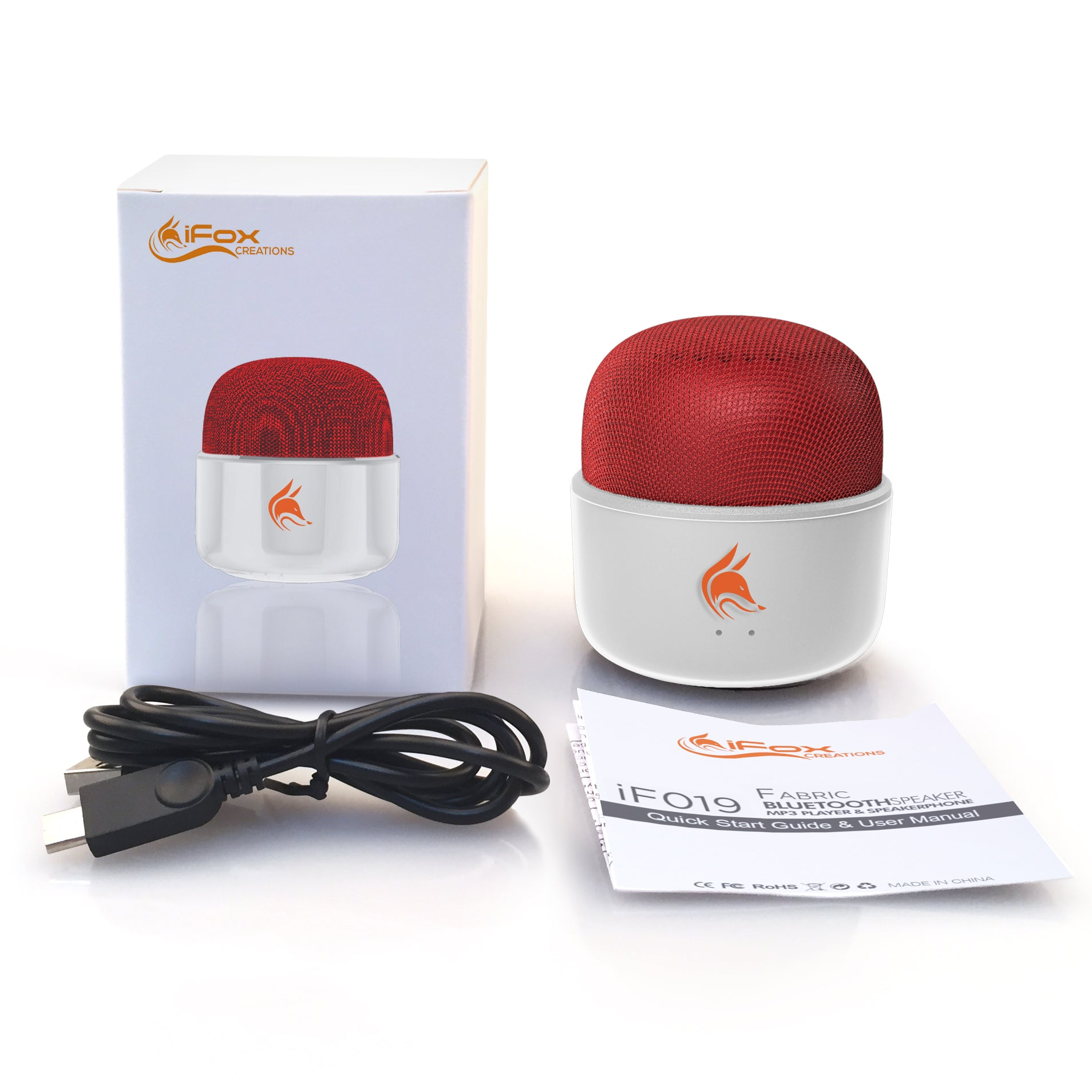 If019 Mini Bluetooth Speaker With Fm Radio White Red Ifox