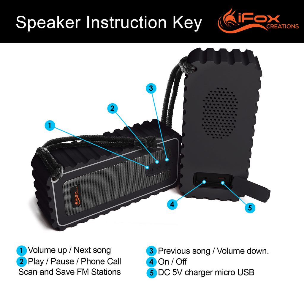 iF015 Waterproof Bluetooth Speaker with FM Radio - Black