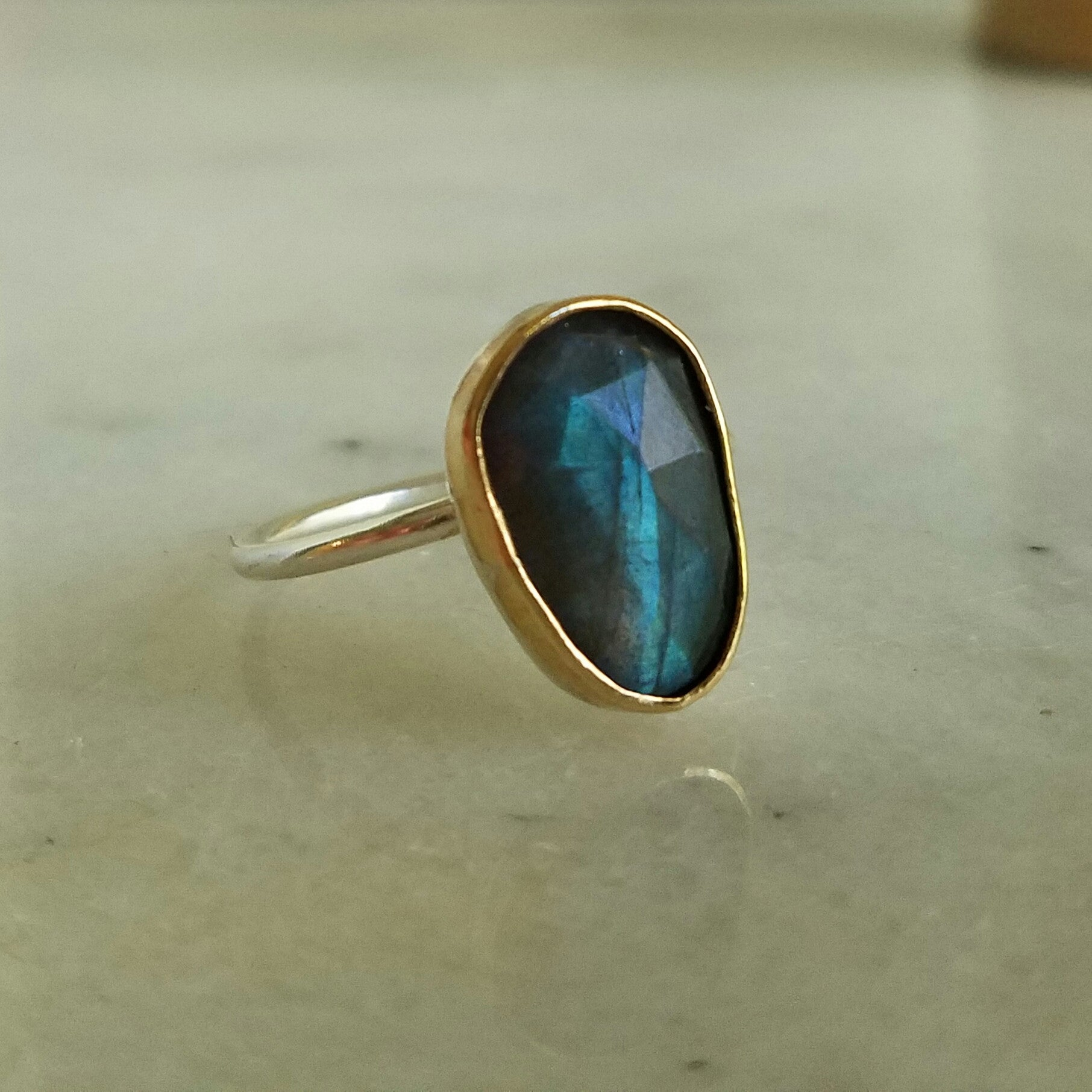 Labradorite and Sterling Silver Stacking Rings