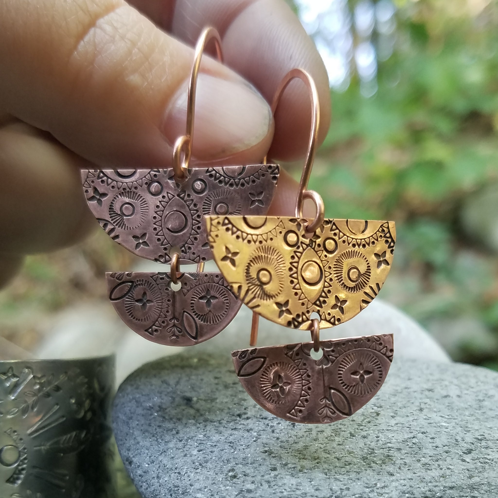 Copper Mandala Half Circle Earrings - Verdilune