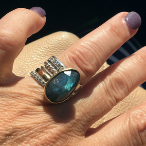 Labradorite and Sterling Silver Stacking Rings - Verdilune