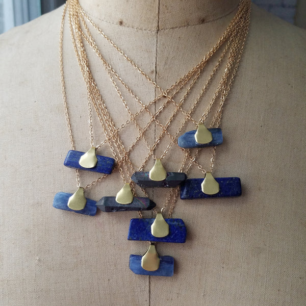Rock Specimen Pendant - Gold Brass with Lapis Lazuli, Kyanite, Quartz Crystal - Verdilune